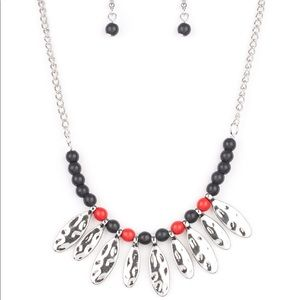 Red and black necklace with earrings